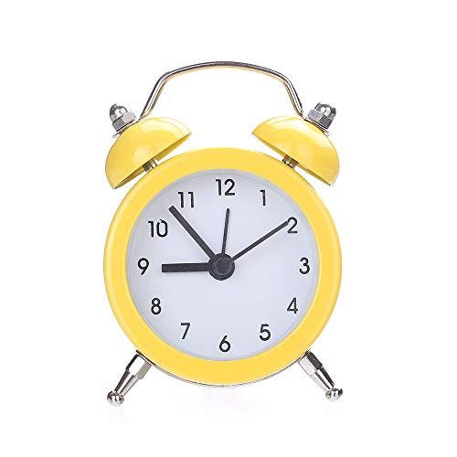Espejo Despertadores Control de Sonidos de Temperatura Reloj de Mesa de Escritorio Campana Doble Aleación silenciosa Reloj Despertador de Metal Inoxidable 19MAY14-mi_Estados Unidos