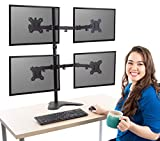 Stand Steady Freestanding 4 Monitor Mount Desk Stand | Height Adjustable Quad Monitor Stand with Full Articulation VESA Mounts | Fits Most LCD/LED Monitors 13-32 Inches (4 Arm Freestanding)