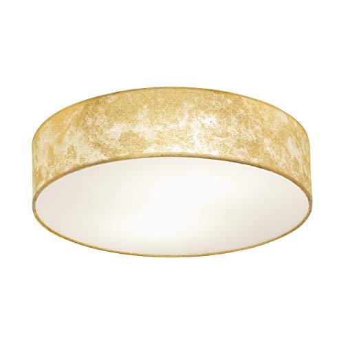 EGLO Deckenlampe Viserbella, 1 flammige Deckenleuchte Vintage, Wohnzimmerlampe aus Stahl und Textil in champagner, gold, Küchenlampe, Flurlampe Decke mit E27 Fassung, Ø 38 cm