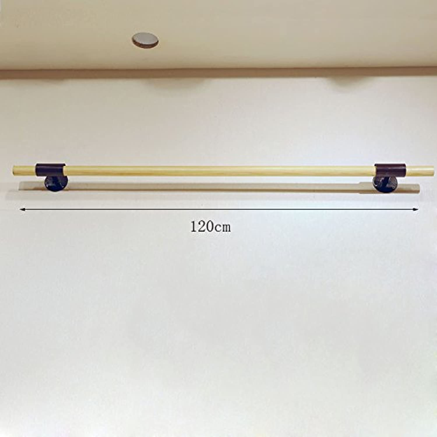GJM Shop Wood color Iron Feet Single Pole Positive Hang Clothing Store Clothes Rack Display Stand Wall Pylons Wall Shelves Rack (Size   120CM)