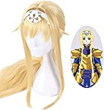 Anime Cosplay Pelucas Postizos para Adultos para Sword Art Online Alice, Halloween Hair + Wig Cap, Party Hair Wigs for Men Women