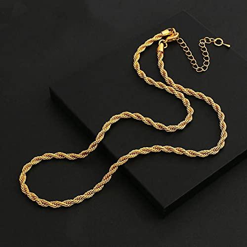 Focisa Collar Colgante Cadena Collares Hombre Mujer Collar Color Dorado Metal Swag Collares De Cadena De Cuerda Trenzada Collares De Cadenas Finas Anchas Gruesas para Mujeres Hombres Coll