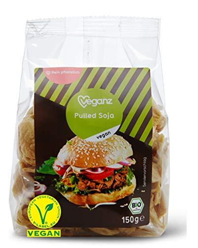 Veganz BIO Pulled Soja - würzig-zart und vegan mit Protein - als Fleischersatz zum Kochen - vegetarisches BBQ, Burger oder Sandwich - 3x 150 GR