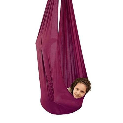 YAWEDA Swing Sensory for niños con Autismo ADHD Aspergers Aspergadores Integración sensorial Abrazar Hamaca Colgando Hamaca for la Hamaca de Yoga (Color : Wine Red, Size : 150x280cm/59x110in)