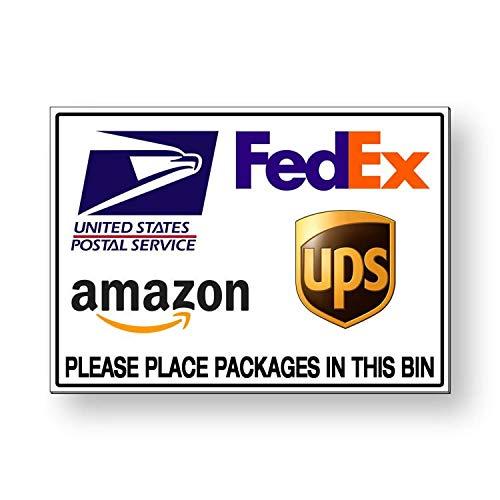 Lplpol - Letrero de metal con instrucciones de entrega por favor coloque paquetes en el contenedor de basura de 8' x 12', aluminio, 1 color, 8' x 12'