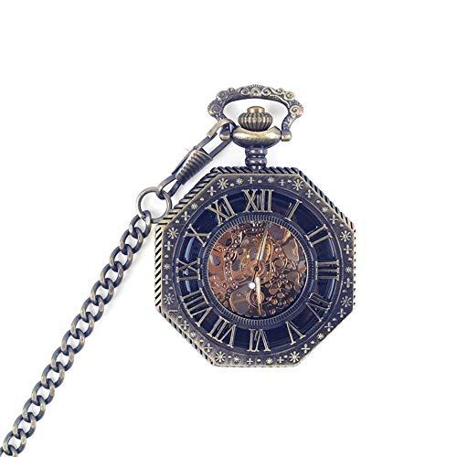 Yhjkvl-AC Reloj de Bolsillo Retro mecánico Reloj de Bolsillo para Hombres y Mujeres Estudiantes Hueco Fuera conmemorativo Reloj de Bolsillo, marrón, 4.7x1.5cm