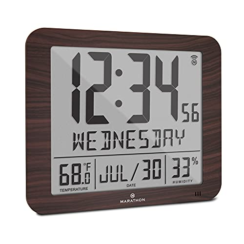Marathon Slim Atomic Full Calendar Wall Clock with Large 3.25' Digits, Indoor Temperature and Humidity - Batteries Included - CL030067WD (Wood Grain Finish)