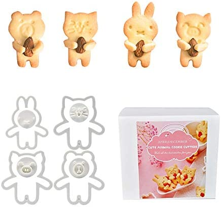 Cute Animal Cookie Cutters Bear Cat Bunny Piglet Cookie Cutter and Face Stamps 8 Piece Set product image