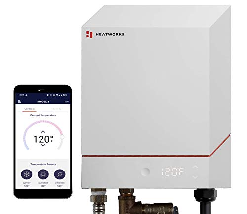 Heatworks Electric Tankless Smart Water Heater, the world's only water heater without metal heating elements. 6.2-24 kW (30-100 A, 208-240 V) Whole-Home or Point-of-Use