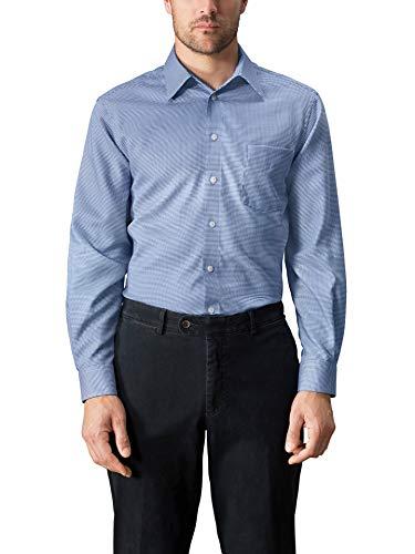 Walbusch Herren Hemd Bügelfrei Kragen ohne Knopf Gemustert Hahnentritt Blau 40 - Langarm
