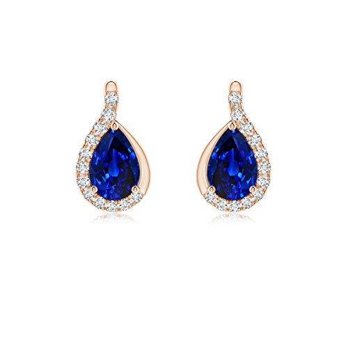 Pendientes de zafiro azul pera con marco de diamante en oro rosa de 14 K (6 x 4 mm, zafiro azul)