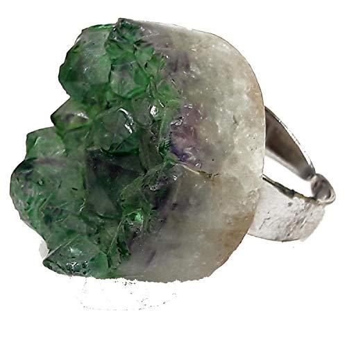 El Coral Anillo geode Amatista Verde 27 mm. Plateado