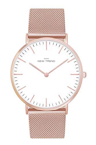 New Trend Unisex Armbanduhr Rosegold Damen-Uhr Herren-Uhr, Analog Uhr, Quarz-Uhr, Textil-Armband, Nylon-Armband, NATO-Armband, Metall-Armband, Edelstahl-Armband (Rosegold)