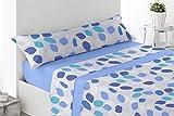 Juego de sábanas Estampadas de Microfibra Transpirable Mod. Zajar (Disponible en Varios tamaños y Colores) (Azul, Cama...