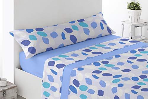 Juego de sábanas Estampadas de Microfibra Transpirable Mod. Zajar (Disponible en Varios tamaños y Colores) (Azul, Cama de 90 cm (90_X_190/200 cm))