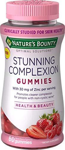 Nature's Bounty Stunning Complexion Skin Care Zinc Supplement Optimal Solutions, Dietary Supplement, 30 mg Zinc, Mixed Berry Flavor, 60 Gummies