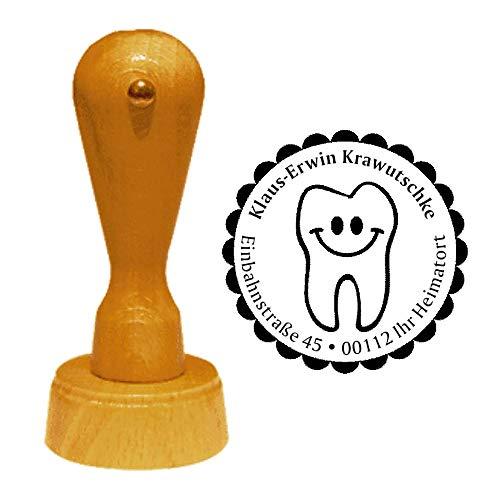 Stempel Adressstempel « ZAHNARZT » Durchmesser ca. Ø 40 mm - mit persönlicher Adresse, Motiv und Zierrand - Beruf Zahn Zähne Dentist Praxis