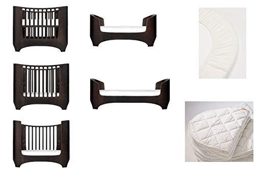 walnuss Leander Baby- und Kinderbett + 1 Set (= 2 Stück) Original-Spannbetttücher in der Babygröße + 1 Matratzenauflage in der Babygröße
