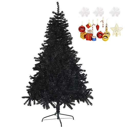 LUCKYERMORE Black Artificial Tree 8 Feet Halloween Christmas Tree Artificial Pine Tree PVC Branch with Sturdy Meatl Stand