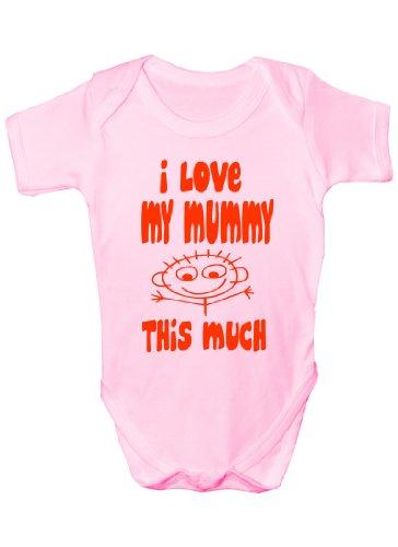 I Love My Mummy This Much Cadeau humoristique Body bébé fille/garçon Sans manches pour bébés - Rose -