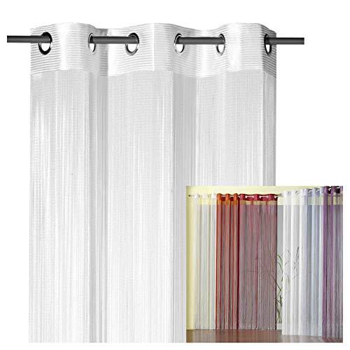 heimtexland ® Fadengardine Fadenvorhang mit Ösen Fadenstore Vorhang als Raumteiler Insektenschutz Perlenvorhang Gardie Typ123 (245x98, Weiß)