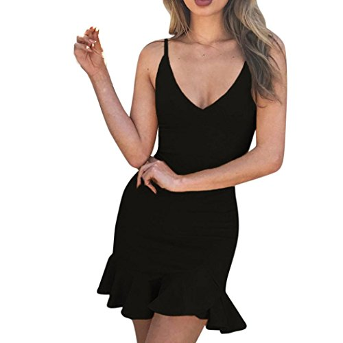 Yesmile ??Vestido de Mujer Falda Negro Vestido Elegante de Noche para Boda Fiesta Vacaciones Vestido de Dama con Volantes Sin Mangas Sexy para Mujer (Negro, XL)