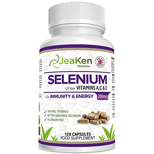 JeaKen - Selenium 200mcg Capsules - Premium Selenium with Vitamins A C E - Promotes Healthy Skin Hair and Nails - Protects The Liver - Immunity and Vitality Booster - 120 Allergen Free Vegan Capsules