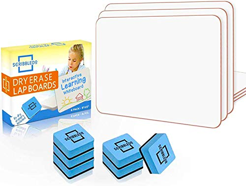 Scribbledo 6 Pack Dry Erase Small White Board 9 X 12 inch Lapboard l Durable Portable White Boards for Kids Students Classroom Home and Office Work 6 Whiteboard Erasers Included