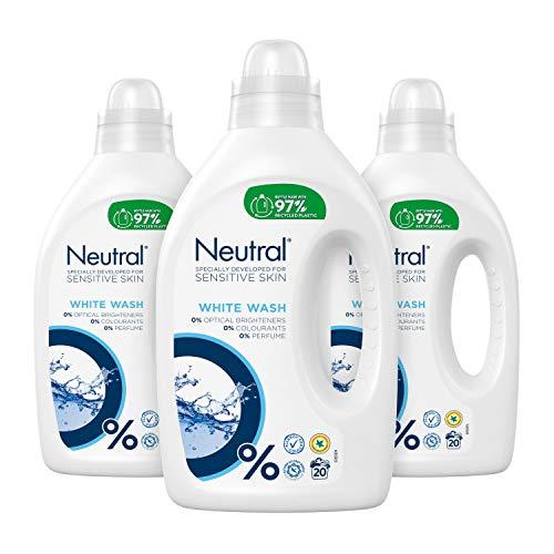 Neutral Wit Wasmiddel Parfumvrij 3 x 20 wasbeurten - 3 x 1 L Voordeelverpakking
