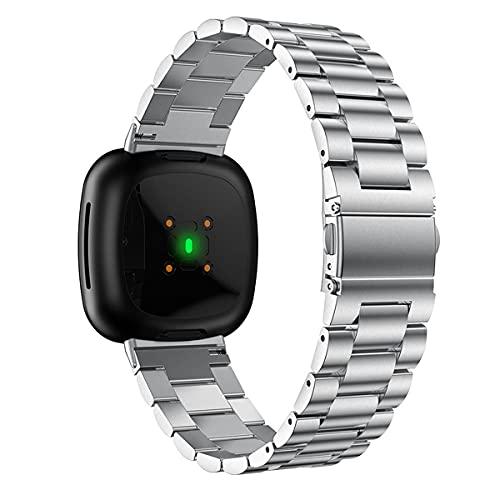 Compatible con correas Fitbit Versa3/Sense, correa de reloj de acero inoxidable, pulsera ajustable, reemplazo de correa de negocios,