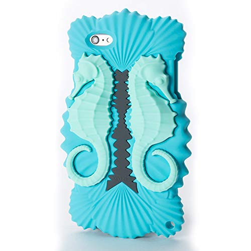 "Xrazi Sea Dragon Case for iPhone 6 Plus & 6s Plus, ""Mermaid Blues"", Soft, Ergonomic, Protective, Premium Silicone Rubber, with Dark Metal Alloy Cross-Body Chain, Art Packaging"