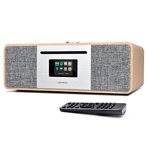 LEMEGA MSY5 All-In-One Musik System,CD-Player,DAB/DAB+/FM-Radio,Internetradio,Spotify Connect,Bluetooth,Holzbox,Stereoklang,USB-Aufladung,Alarme,Farbdisplay,Fernbedienung und App-Steuerung - Weiß