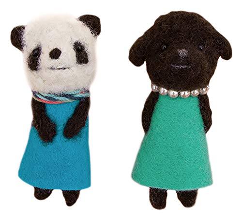 ハマナカ 羊毛フェルトキット フェルト羊毛でつくる小さなブローチ もじゃもじゃパンダともじゃもじゃプードル H441-555