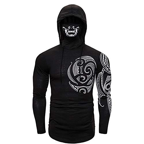 Fitness kleding Mannen Gym Training Suit Grey Stretch Fitness Mannen Ninja Suit Hooded lange mouwen T-shirt Tattoo Mask (Color : Zwart, Size : XXL)