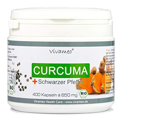 Vivameo ® Bio Kurkuma + Bio Schwarzem Pfeffer, 400 Kapseln 650mg Curcumin, Curcuma 1650 Tagesdosis
