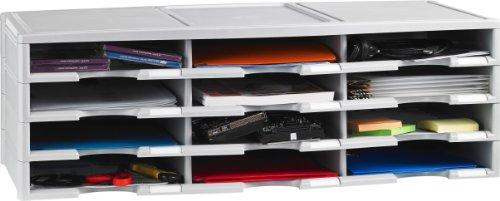Storex Modular 12-Compartment Literature Organizer, Gray (61431U01C)