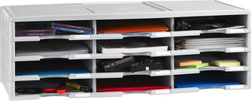 Storex Compartiment Organiseur de littérature/Trieur de document 12 Compartment gris