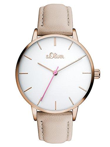 s.Oliver Damski analogowy zegarek kwarcowy ze skórzanym paskiem SO-3463-LQ