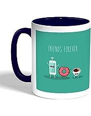 كوب سيراميك للقهوة بطبعة اصدقاء للابد ، لون ازرق