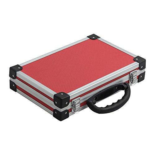 extra schmaler Alurahmenkoffer Werkzeugkoffer Schutzkoffer Aufbewahrung rot