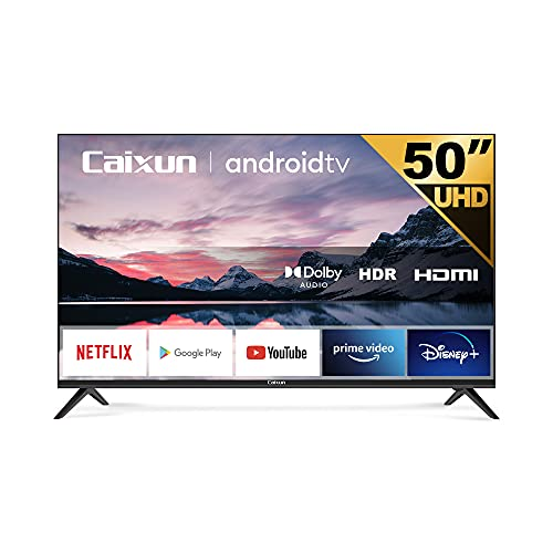 Caixun EC50S1A TV 50 Pollici Smart TV 4K, Android Ultra HD, HDR Dolby Vision, Google Assistant, Tuner Triplo (DVB-T2/T/C/S2/S), WiFi, Nero