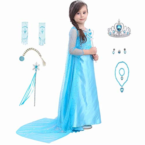 Girls Princess Costume Dress - Ice Snow Queen Halloween Party Cosplay for Kids Baby Toddler Little Child