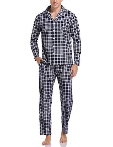 Aibrou Herren Schlafanzug lang Karierter Pyjama Set Zweiteilige Nachtwäsche Langarm mit V-Ausschnitt und Knopfleiste Dunkelblau+Weiß S