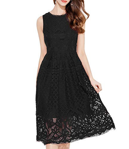 VEIISAR Womens Fashion Sleeveless Lace Fit Flare Elegant Cocktail Party Dress (Large, L0201 Black)