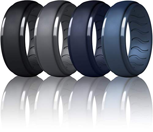 Dookeh Silicone Wedding Ring for Men - Mens Silicone Wedding Band - Breathable Skin Safe Improved Design for Crossfit Workout Swimming Firefighters Military (T-Dgray,Black,Navy Blue,Blue, 10)