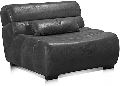 Cavadore Sessel Scoutano in Antiklederoptik / XXL-Sessel ohne Lehne im Industrial Design / 114 x 76 x 108 cm / Lederoptik Deep Black