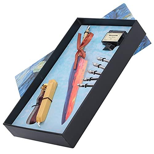 Kit de caja de regalo con bolígrafo de pluma, juego de bolígrafo de escritura de caligrafía con 5 puntas de metal, regalo para fiesta de cumpleaños, regalos de Navidad(#3)