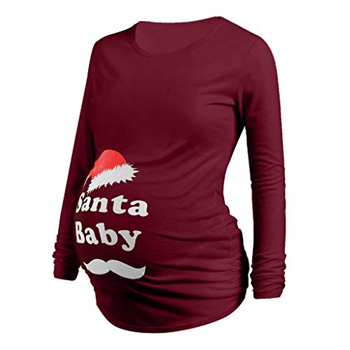 Noël T Shirt Maternité Grossesse,Tops Haut Blouse Femme Enceinte Col Ronde Pull Élégant Chemise T-Shirt Long Imprime Pere Noël Grande Taille Pas Cher Casual Vêtement Tunique Cadeau Noël