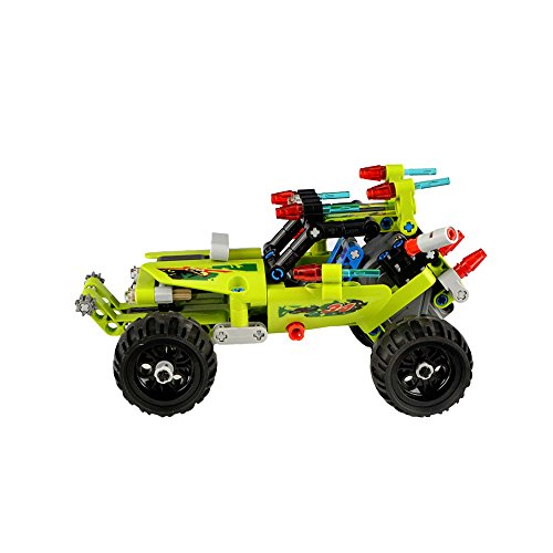 Formel 1 und Buggy zu einem LKW zusammenbauen, 2in1 Modelle aus Bausteinen, Fahrzeuge mit Rückziehfunktion Pull Back Car, Steckbausatz DIY zum Selberbauen und basteln, Auto, Truck Block Building Set