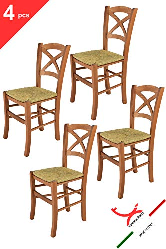 Tommychairs - 4er Set Stühle Cross für Küche und Esszimmer, Robuste Struktur aus lackiertem Buchenholz im Farbton Kirschbaum und Sitzfläche aus Stroh